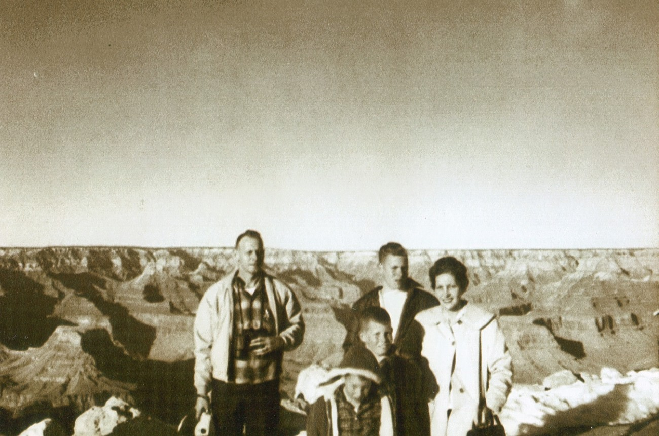Pop, John, Me, Steve and Mom (and sister Cyndy taking the picture) moving to California, posing at the Grand Canyon where little John almost fell in.