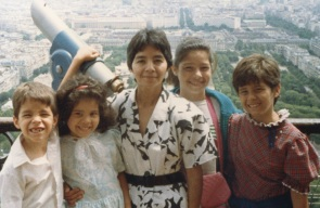 Family atop the Eiffel Tower