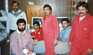 Shahid, Lazarus, Altaf, Mansoor, Mohammed and Paul on Rig 15. Paul was from Karachi, a real city where you can buy beer, he told me.