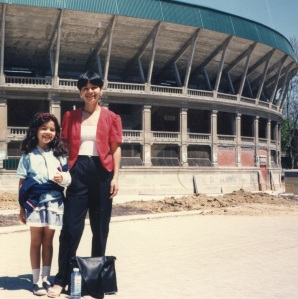 Frances and Veronica visited Pamplona with me in 1991 - here they pose before a bullring.