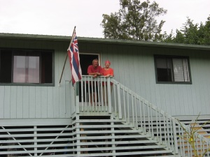 Brother John and sister Cyndy on John's porch in Paradise in 2013