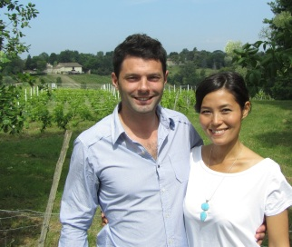 Chantal with Guy at a vineyard near their home.