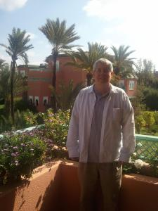 Me on balcony of Noureddine's vacation apartment in The Palmerie, Marrakesh