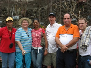 Jim's wife, Cyndy, Dalas, Jim, Jim's friend and Cyndy's son Bryan - at the zoo; we heard Monkeys howling - outside the zoo walls