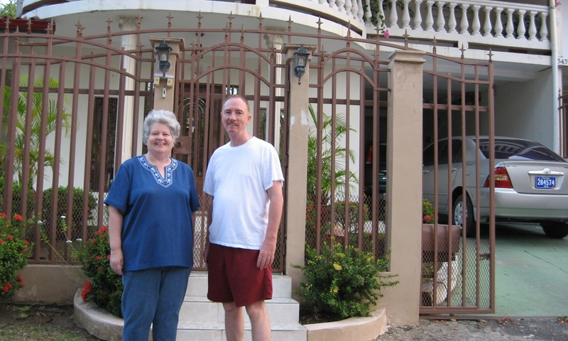 Cyndy with her old friend Jim outside his house in Diablo, Panama
