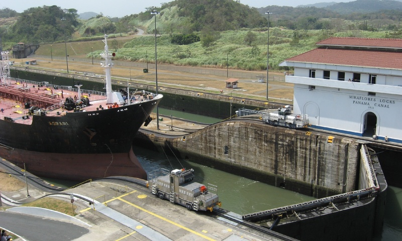 Boat passing thru the Panama Canal