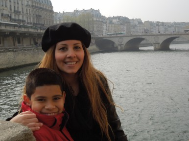 Daughter Veronica and grandson Andrew by river Seine, Paris 2012