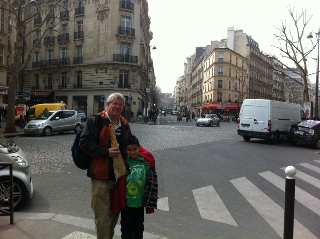 Grandson Andrew and me in Paris some months before this trip