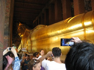 Giant reclining Buddha - I asked the guide and she said this Buddha is actually made of bricks and mortar. There is another Buddha in Bangkok near our hotel that is 5 tons of solid gold.