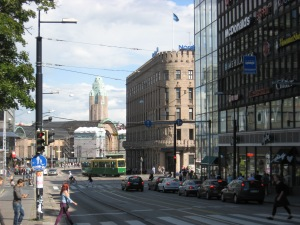 Downtown Helsinki, looking towards the train station