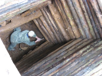 Nicolay climbed down into this mine using the logs since someone had stolen his ladder. Very cold down there.