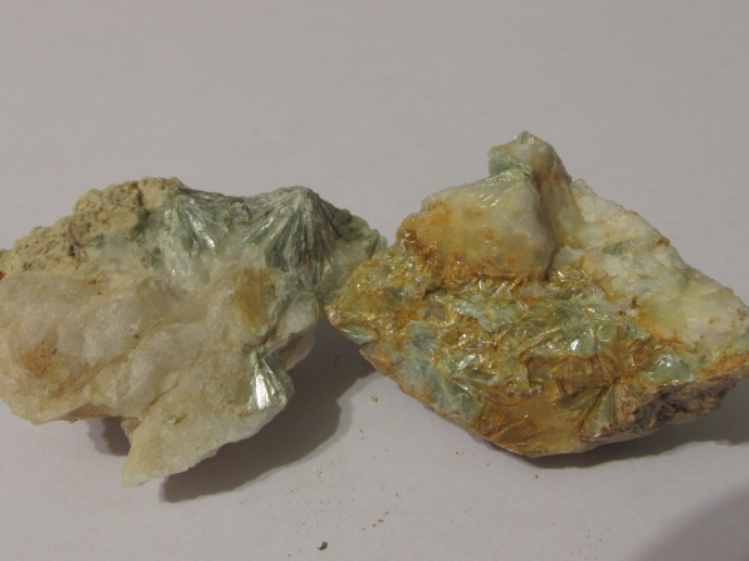 Pyrophyllite I found - can have green or gold teepee-like crystals