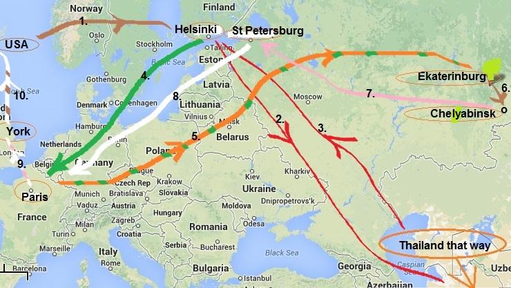 1. Flight from Dallas thru Paris to Helsinki, Finland 2. Flight from Helsinki to Bangkok 3. Return to Helsinki 4. Helsinki to Paris 5.Paris thru St Petersburg to Ekaterinburg, Russia 6. Bus to Chelyabinsk 7. Flight to St Petersburg 8. Flight to Paris 9. Train to London and on to York 10. (Train to London) then Flight back to Dallas