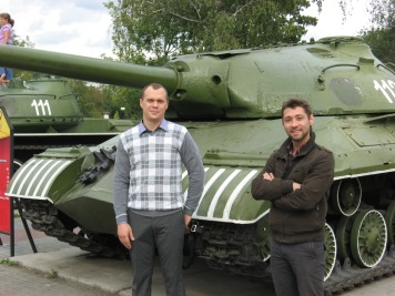Alexander and Evgeny next to old tanks in Victory Park - Chelyabinsk built many tanks