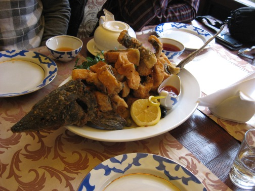 Sturgeon fresh caught and fried up - this plate cost over $100!