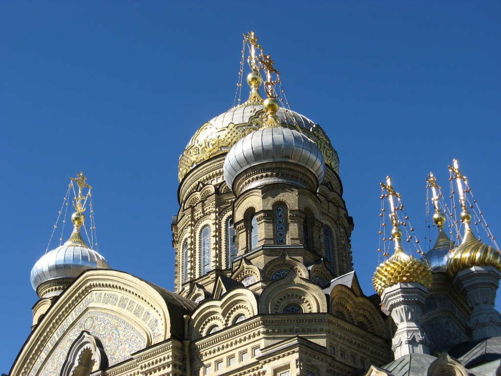 Onion domes typical of Russian Orthodox churches