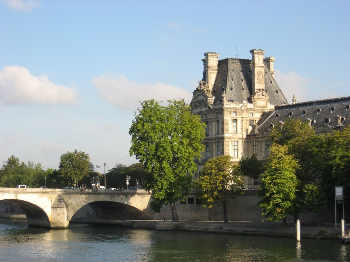 Louvre Museum tower and the Seine River