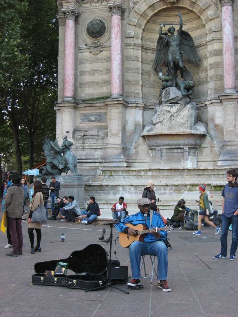 This street entertainer at St Michel Plaza was singing the theme song from Baghdad Cafe, a film I first saw in Paris many years ago. I gave him the change in my pocket.