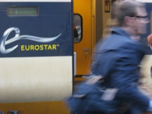 Eurostar train travels under the English Channel