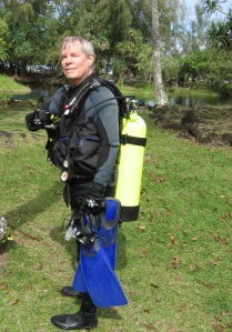 All geared up for diving with sea turtles