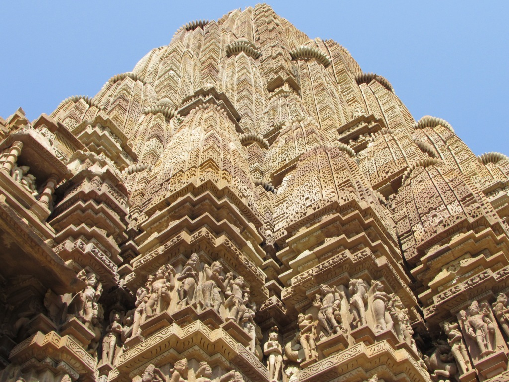 Towering mass of carved figures and ornamental stone