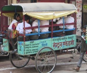 Bicycle-drawn school bus