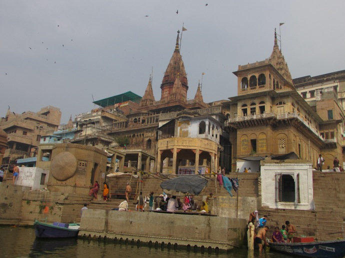 Varanasi temples on the river