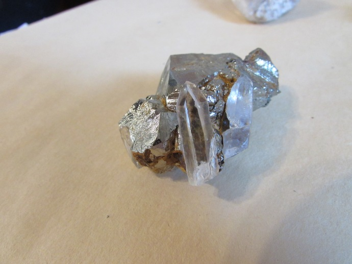 Quartz crystal on matrix of iron pyrite (fools gold)