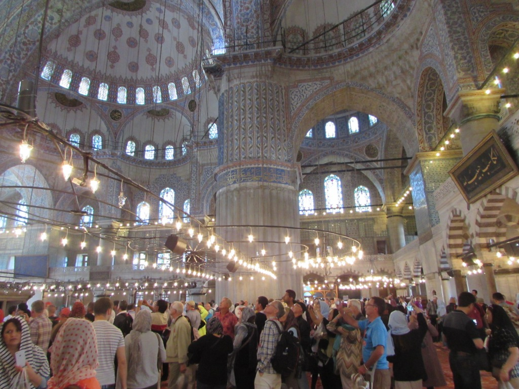 Blue Mosque interior - note low hanging lights