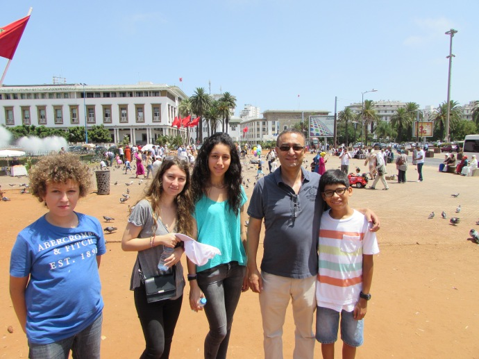 Downtown Casablanca with Ayman 14, Yasmine 17, Yasmine's friend also called Yasmine, my old colleague and friend Noureddine, and my grandson Andrew