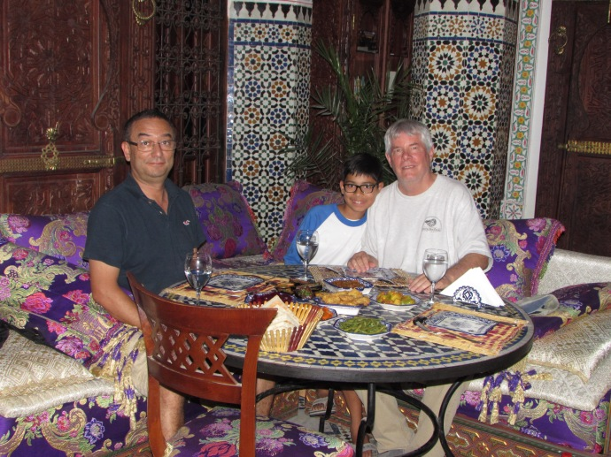 Noureddine, Andrew and me eating at a riad.