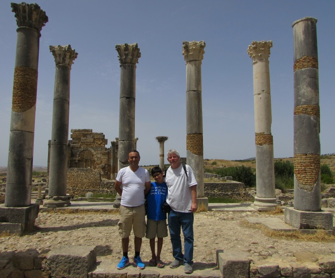 Noureddine, Andrew and me at Volubilus, 2,000 years after the Roman Emperor Hadrian visited