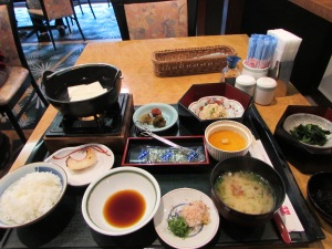 Had Japanese breakfast of fish and rice and great miso soup and bland tofu (as usual)