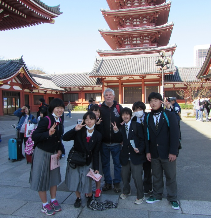 Here I am, first day in Tokyo, visiting a temple only to be interviewed by school kids practicing their English.
